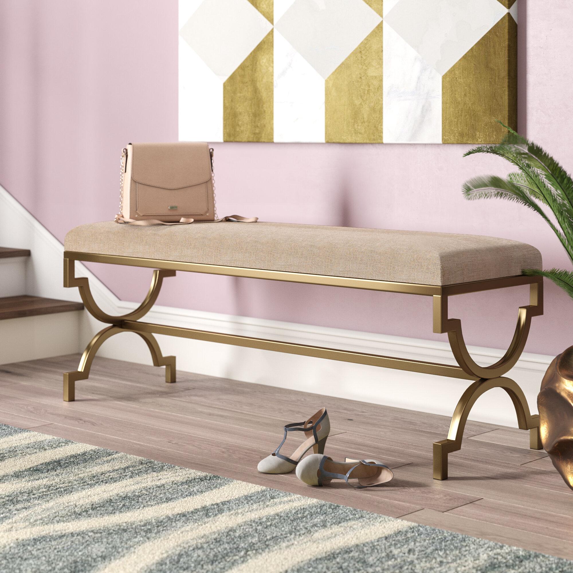 834864ba Willa Arlo Interiors Zara Metal/Upholstered Bench & Reviews   Wayfair