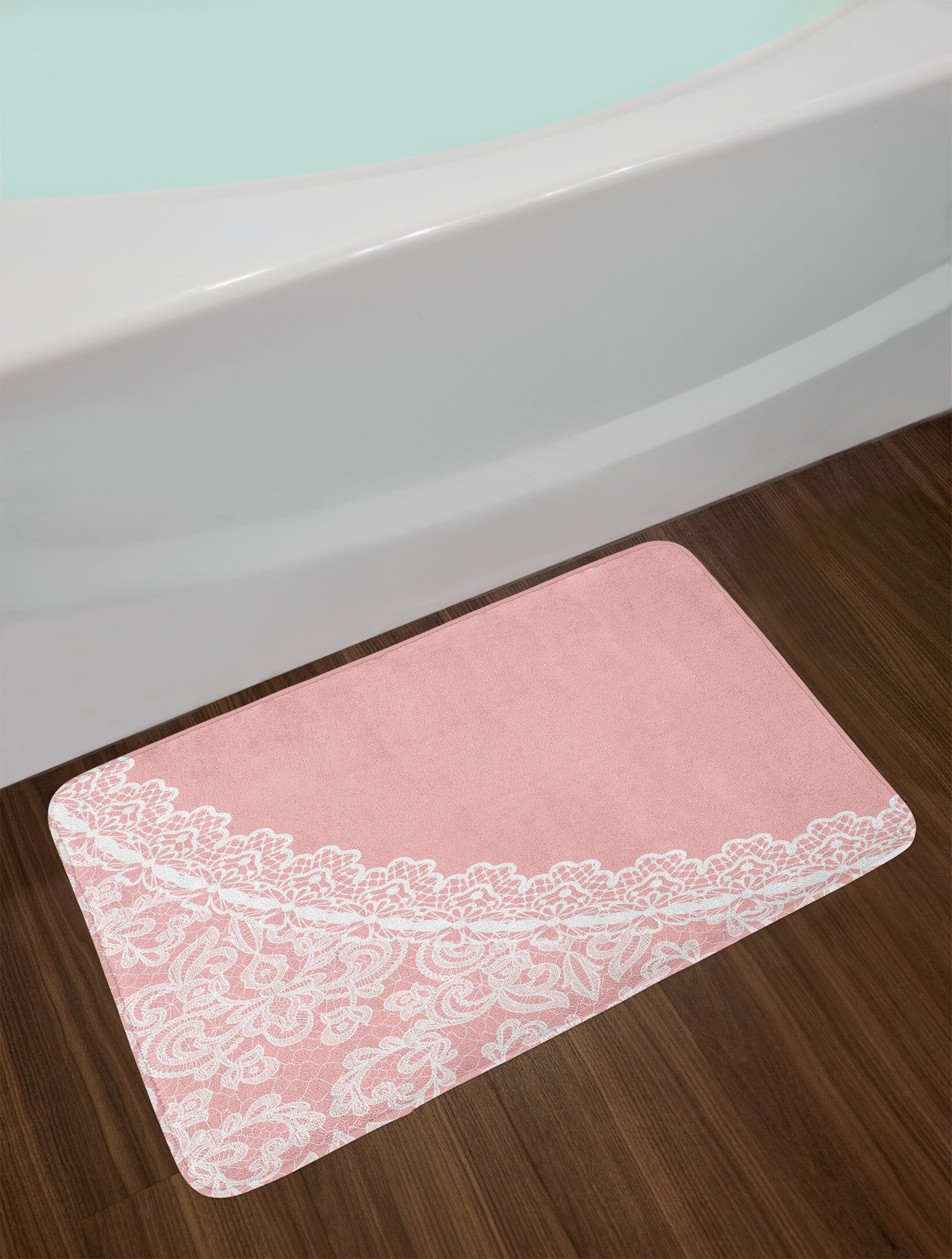East Urban Home Ambesonne Pink And White Bath Mat By Lace Old