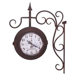 Patti Living Dual Sided Train Station Wrought Iron 7 Wall Clock