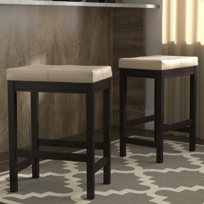 Justine 24 Bar Stool (Set of 2) Andover Mills Upholstery: Ivory