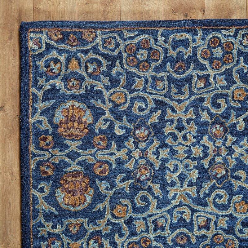 Birch Lane Heritage Wilshire Greta Hand Tufted Wool Navy Blue Area