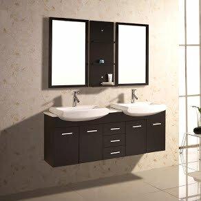 Kokols 60 Quot Double Floating Bathroom Vanity Set With Mirror And Shelves Wayfair