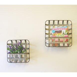 Fallin Galvanized Woven Pocket Wall Storage Organizer With Basket Set Of 2