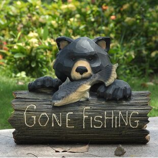 Bear With Gone Fishing Sign Statue