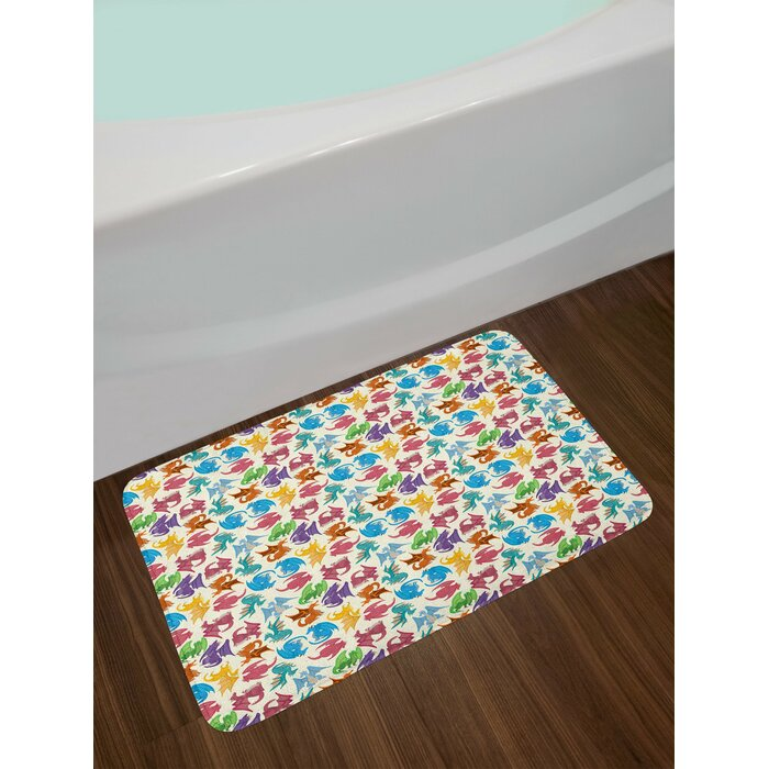 Cartoon Multicolored Dragon Bath Rug