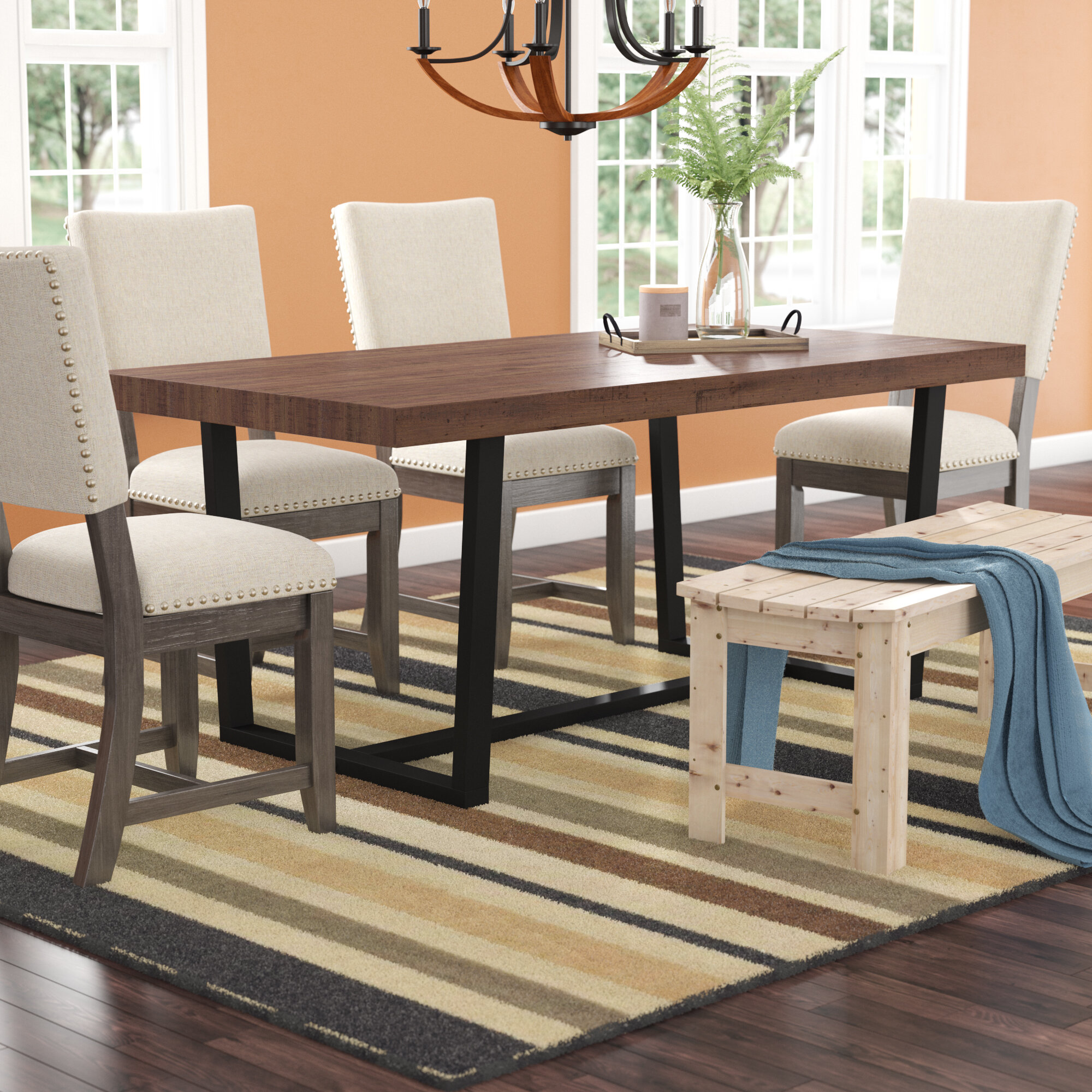 Wayfair & Neely Distressed Solid Wood Dining Table