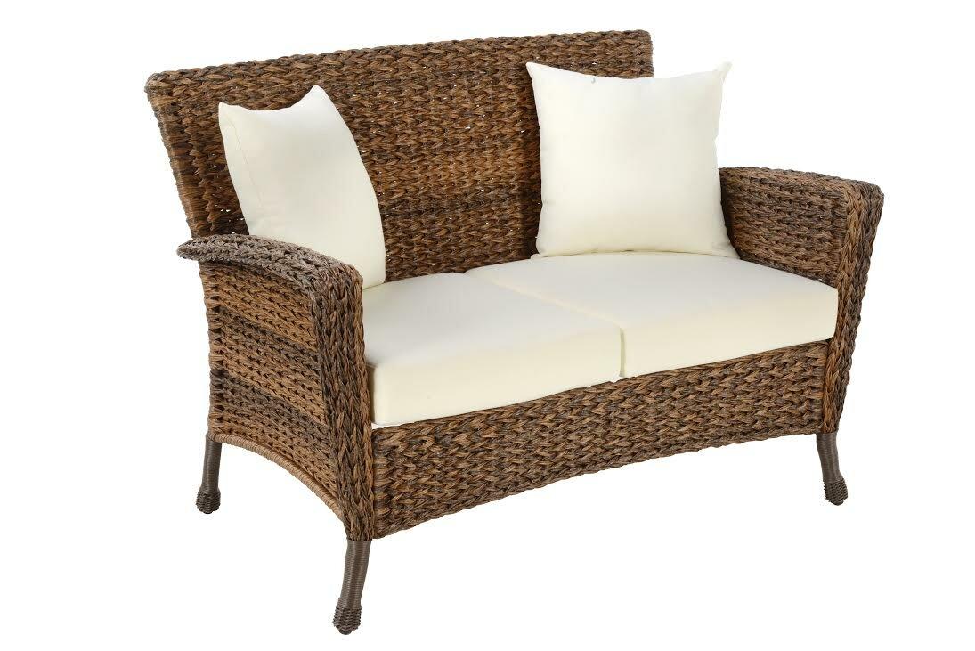 Ophélie Outdoor Faux Sea Grass Garden Patio Loveseat With Cushion | Joss U0026  Main