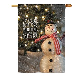 most wonderful time snowman winter seasonal christmas impressions 2 sided polyester 23 ft x 33 ft house flag