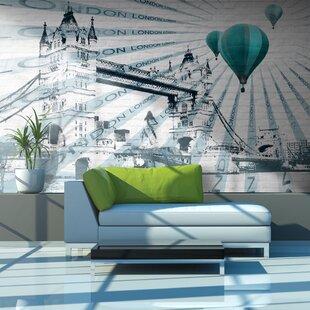 Hot Air Balloon over Tower Bridge 3.09m x 400cm Wallpaper