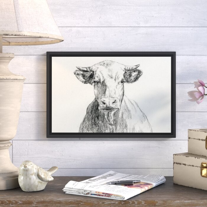 'Farmhouse Cow Sketch' Drawing Print on Canvas