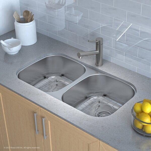 kraus stainless steel 3225 x 18 double basin undermount kitchen sink with noisedefend soundproofing rectangular bathroom sink reviews wayfair. beautiful ideas. Home Design Ideas