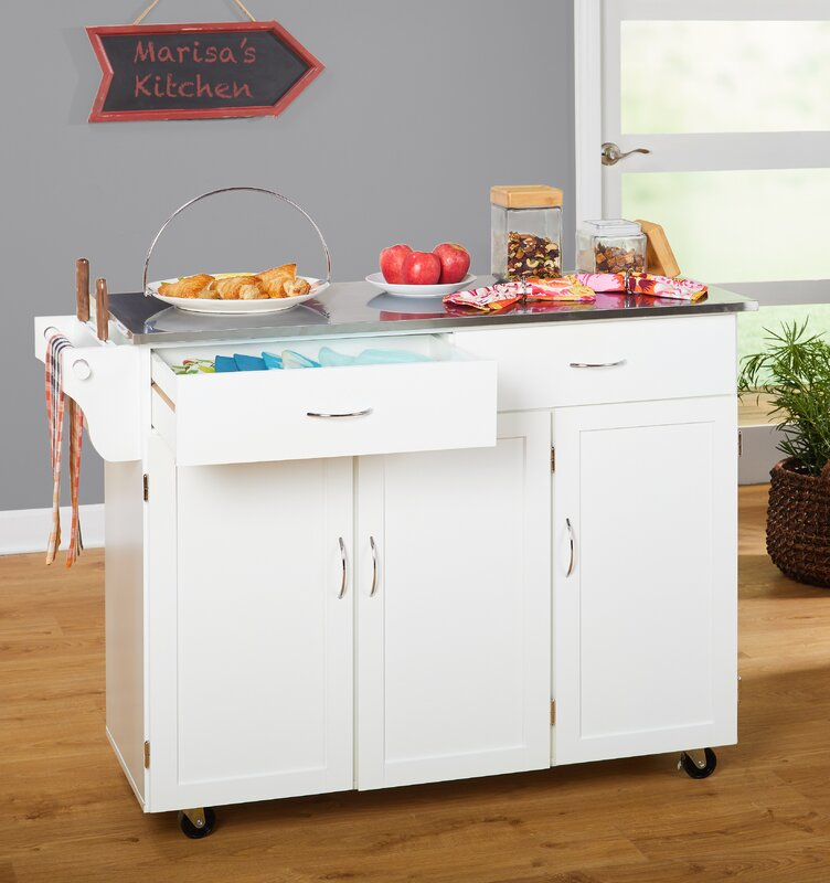 Kitchen Island With Stainless Steel Top: Red Barrel Studio Garrettsville Kitchen Island With