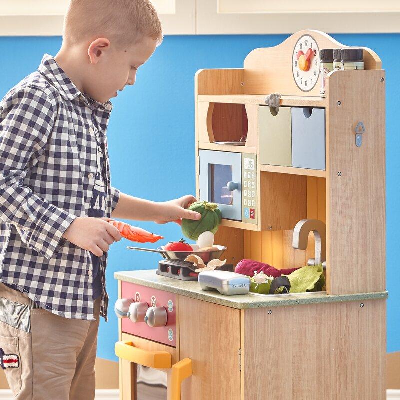 5 piece little chef wooden play kitchen set with accessories teamson kids 5 piece little chef wooden play kitchen set with      rh   wayfair com