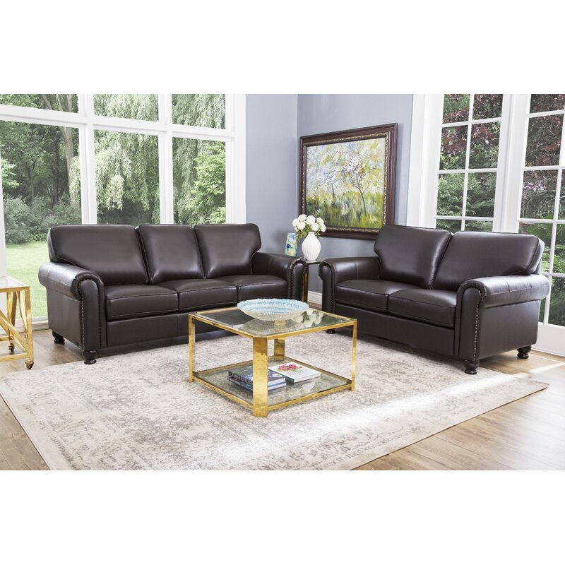 Darby home co coggins 2 piece leather living room set reviews wayfair 2 piece leather living room set