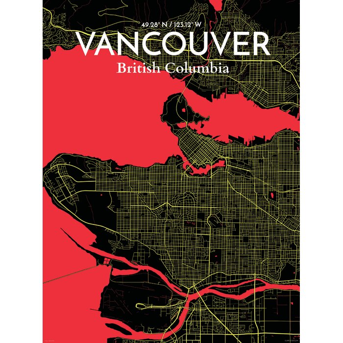 Ourposter vancouver city map graphic art print poster in vancouver city map graphic art print poster in contrast gumiabroncs Gallery