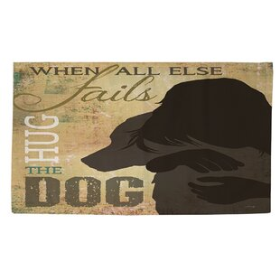 Hug The Dog Brown Area Rug