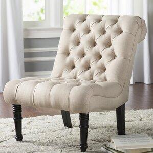 clarke scroll back tufted slipper chair