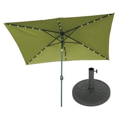 Trademark Innovations 10' X 6.5' Rectangular Lighted Umbrella Fabric: Light Green