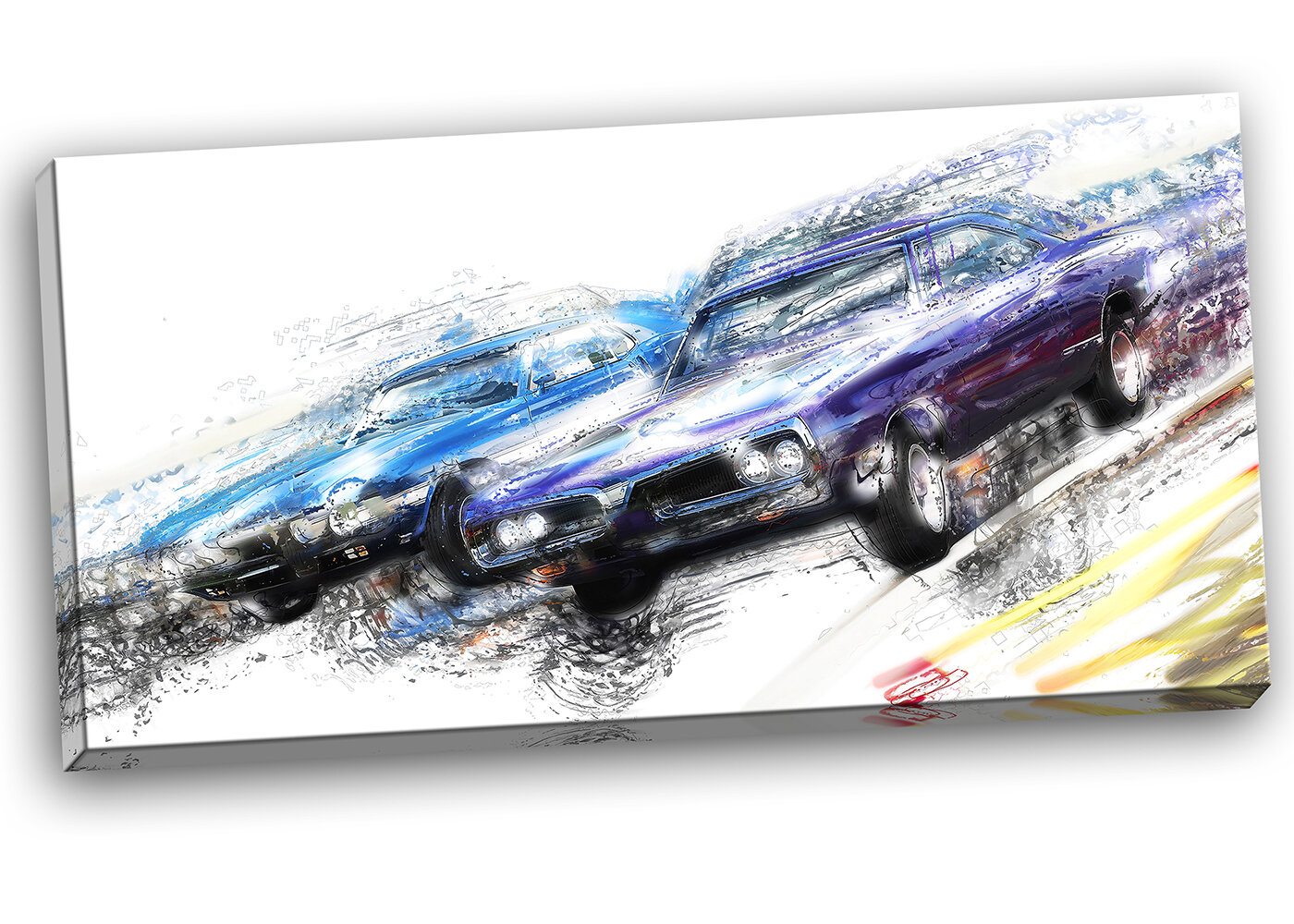 Designart Finish Line Muscle Car Race Graphic Art On Wrapped