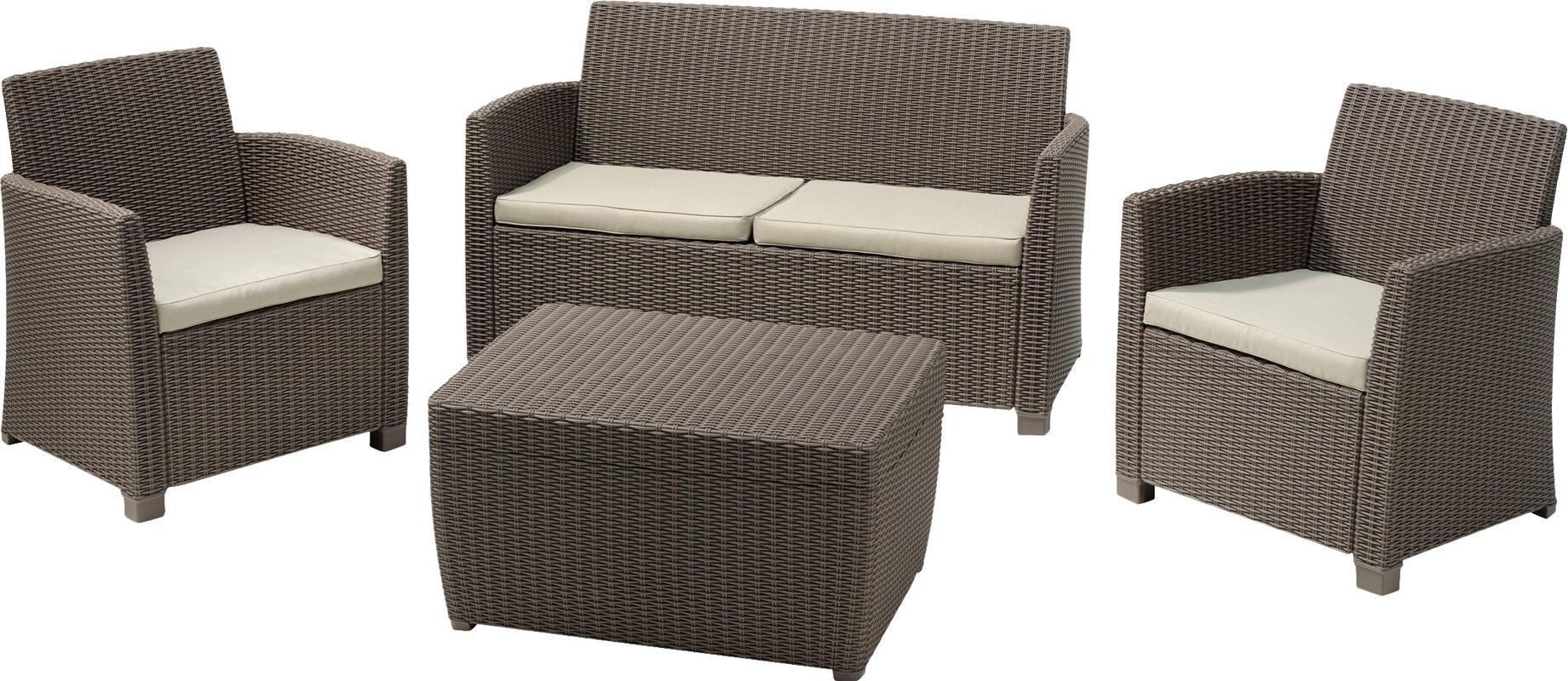 garten living 4 tlg lounge set bali mit kissen bewertungen. Black Bedroom Furniture Sets. Home Design Ideas