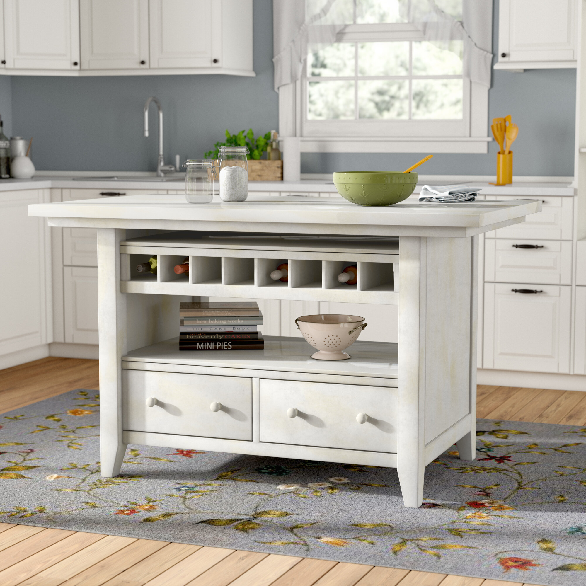 August Grove Carrolltown Wood Kitchen Island & Reviews | Wayfair