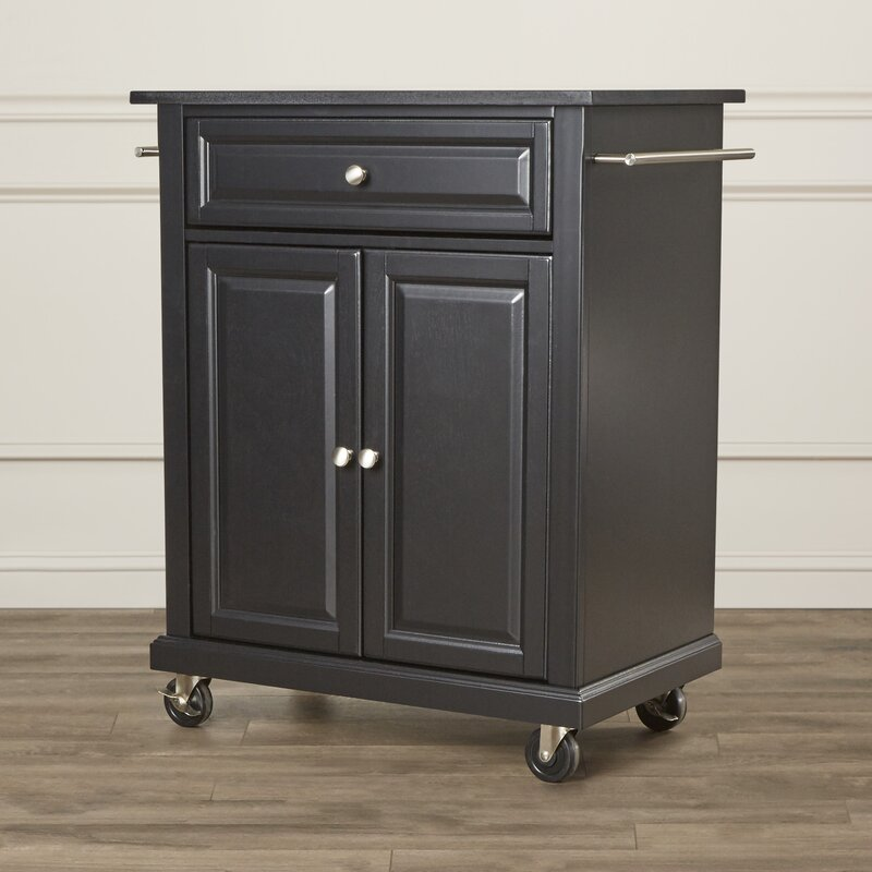 Pottstown Portable Kitchen Cart With Granite Top