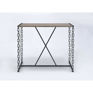 Callis Industrial Rectangular Wood and Metal Pub Table