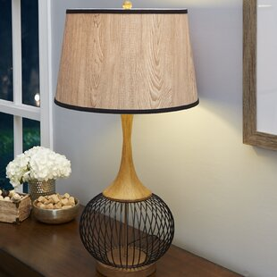 Wire cage lamp wayfair rishi 23 table lamp with metal wire cage and faux wood shade greentooth Images