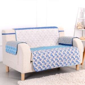 Blue Stone Box Cushion Loveseat Slipcover by Pegasus Home Fashions