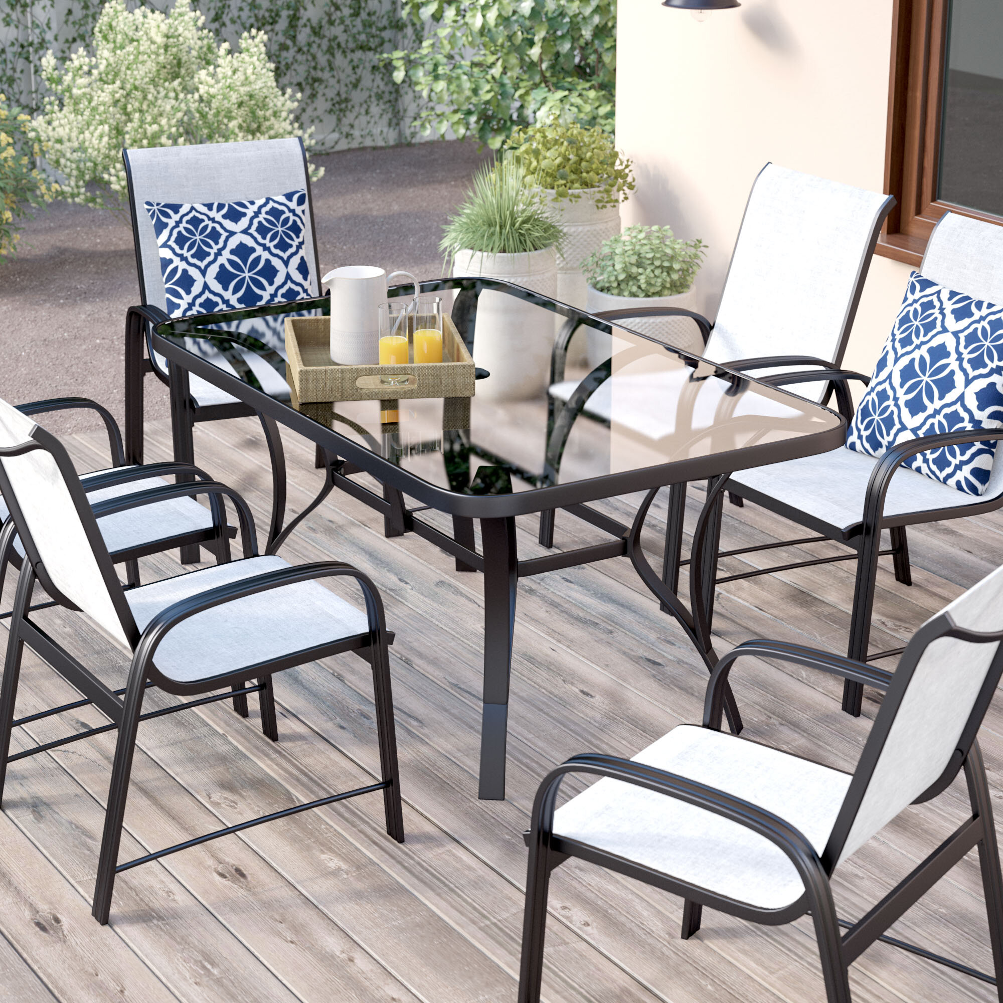 dp aluminum dark dining amazon garden com patio brown cosco ridge piece outdoor set serene
