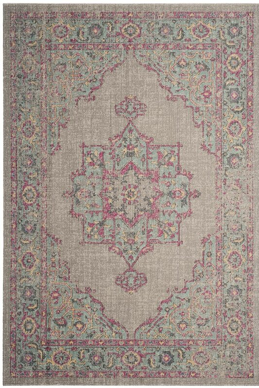 Bunn Gray/Light Blue/Pink Area Rug
