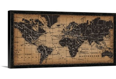 old world map graphic art on wrapped canvas