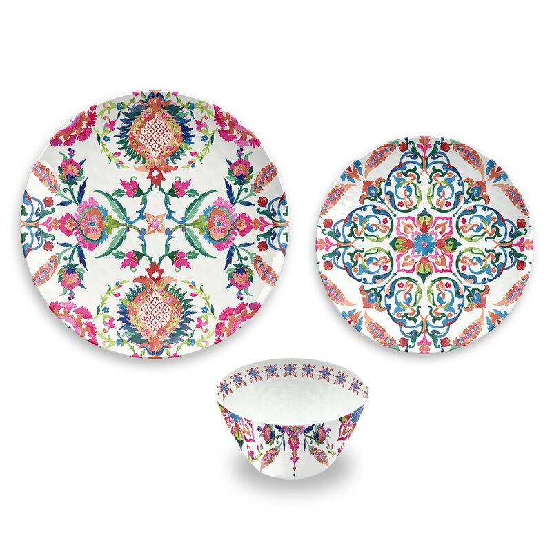 Phair Floral 12 Piece Melamine Dinnerware Set Service for 4  sc 1 st  Joss u0026 Main & Phair Floral 12 Piece Melamine Dinnerware Set Service for 4 | Joss ...