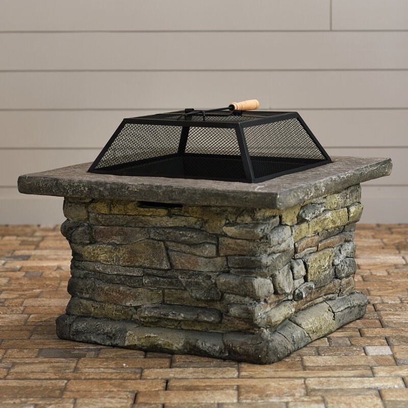 Colton Faux Stone Wood Burning Fire Pit Table & Reviews ...