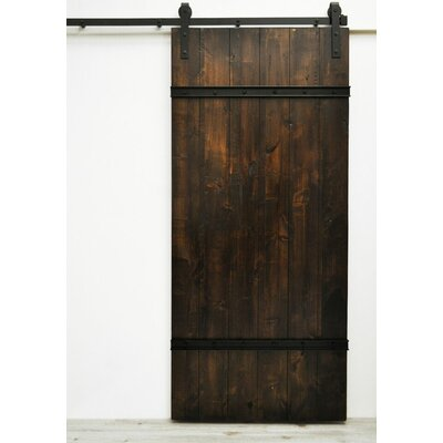 August Grove Flush Wood Finish Celeste Barn Door without Installation Hardware Kit Color: Dark Chocolate Stain