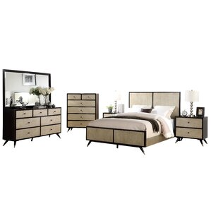 Bobby Mid Century Platform 3 Piece Rubberwood Bedroom Set