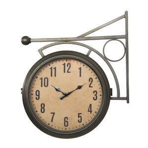 turn of the century metal 2sided station clock