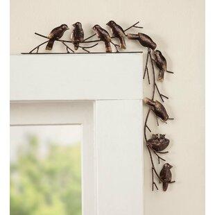 Metal Birds Door Crawler Wall Décor