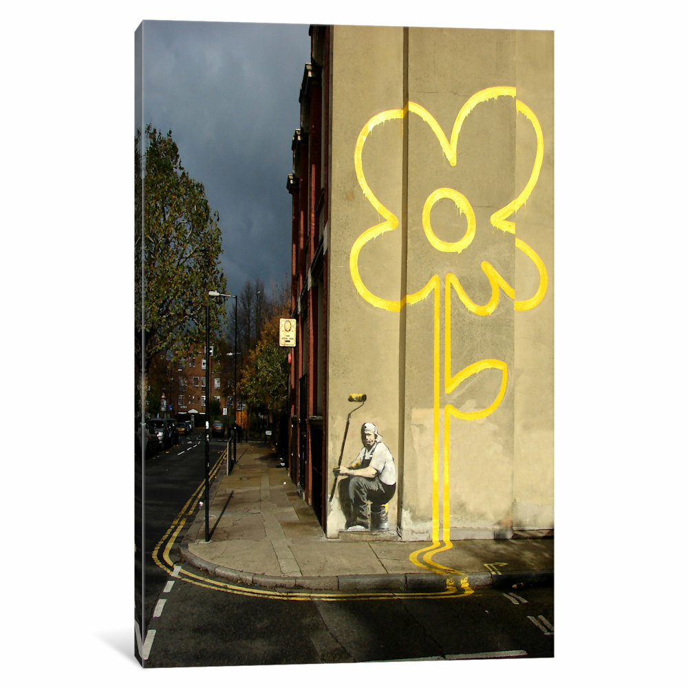iCanvas Lines Flower Painter by Banksy Photographic Print on Wrapped ...