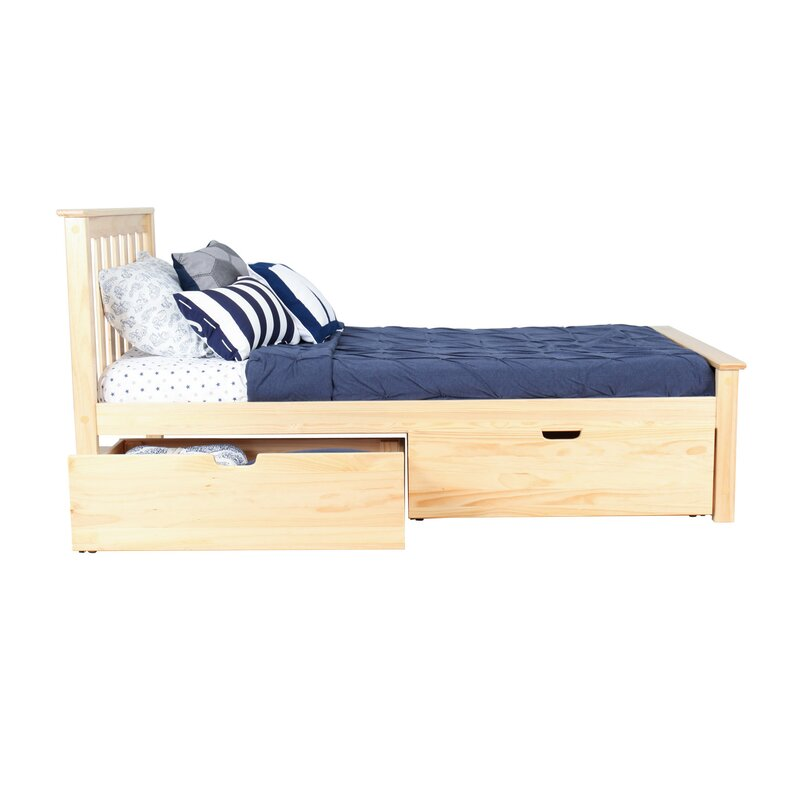 Solid Wood Twin Platform Bed with Under Bed Storage Drawer  sc 1 st  Wayfair & Max u0026 Lily Solid Wood Twin Platform Bed with Under Bed Storage ...