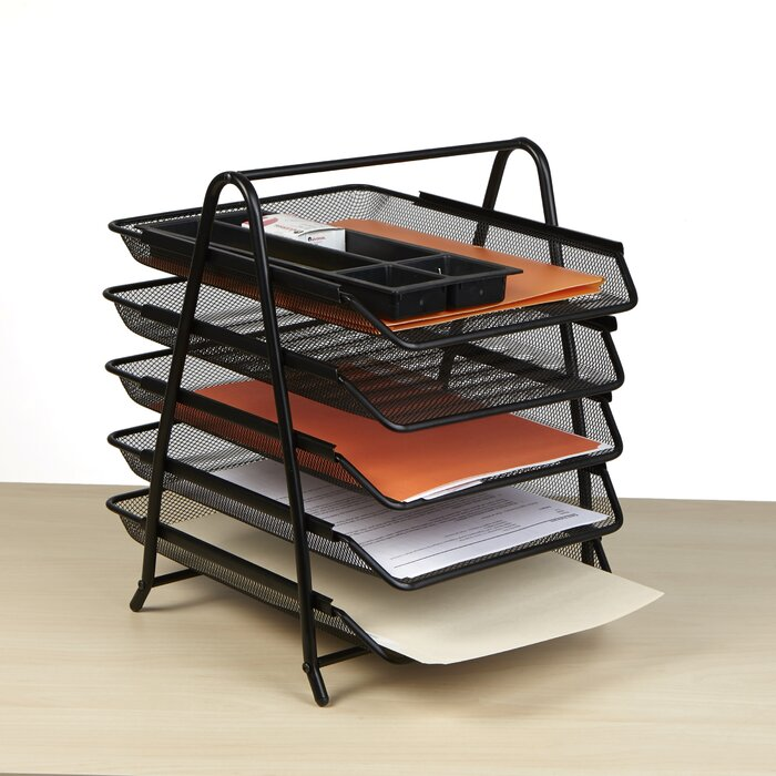 sorter steel tray amazon dp desk with black shelves com safco products organizer
