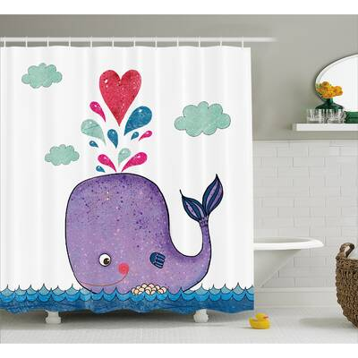 Turner Smiley Whale With Cloud Shower Curtain
