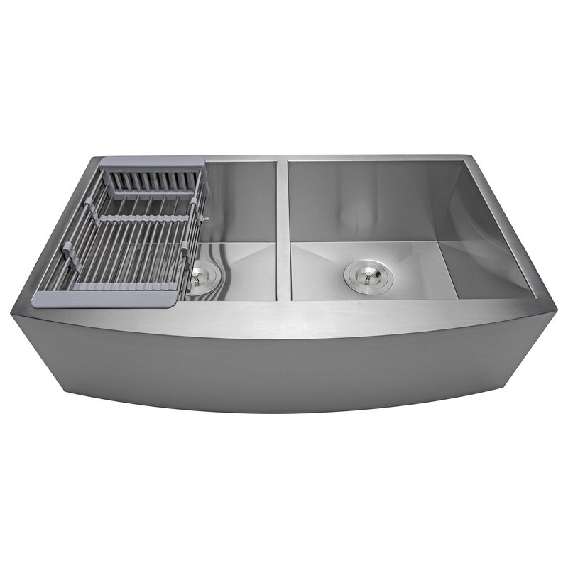 handmade stainless steel 33   x 20   double basin apron kitchen sink with drain strainer akdy handmade stainless steel 33   x 20   double basin apron kitchen      rh   wayfair com