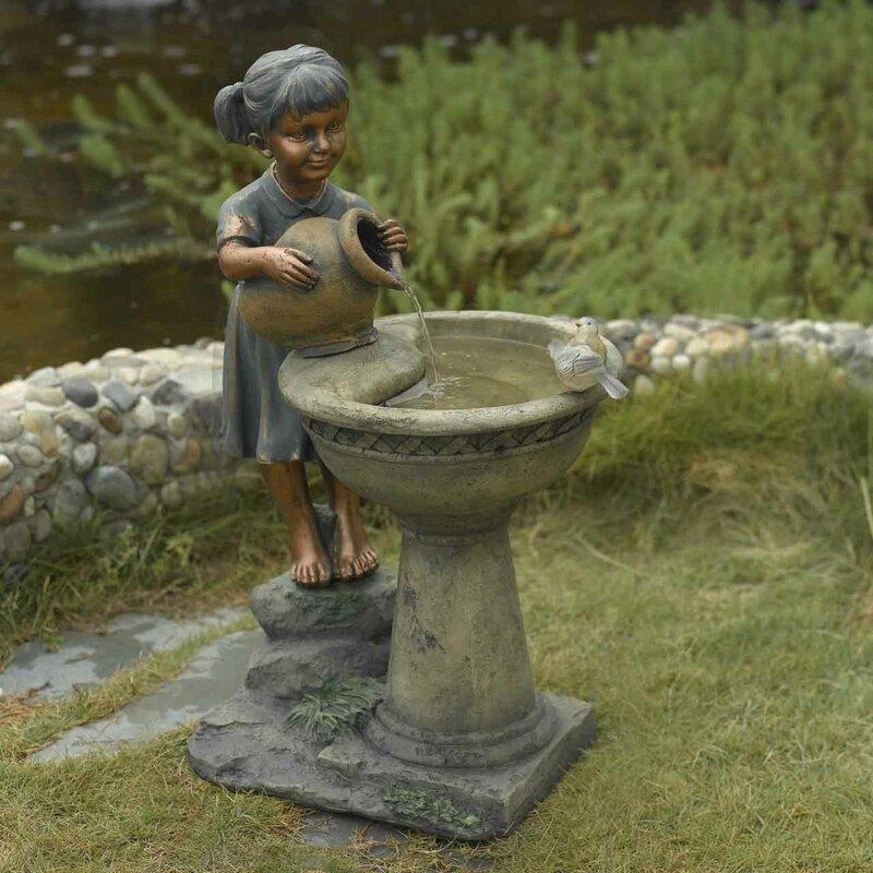Resin/Fiberglass Versando Bird Bath Outdoor Water Fountain