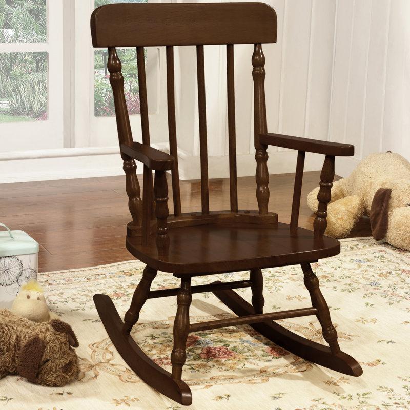 Della Kidu0027s Solid Pine Wood Rocking Chair