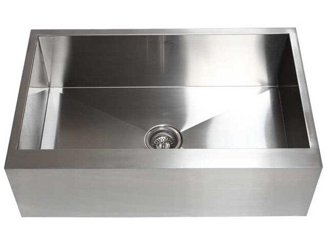 ariel 33   x 21   stainless steel single bowl farmhouse kitchen sink emodern decor ariel 33   x 21   stainless steel single bowl      rh   wayfair com