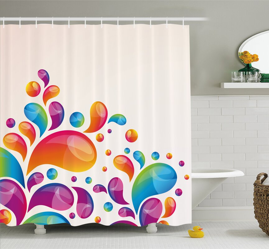 Cute Raindrops In Different Sizes Gradient Colors Abstract Splash Style Shower Curtain Set