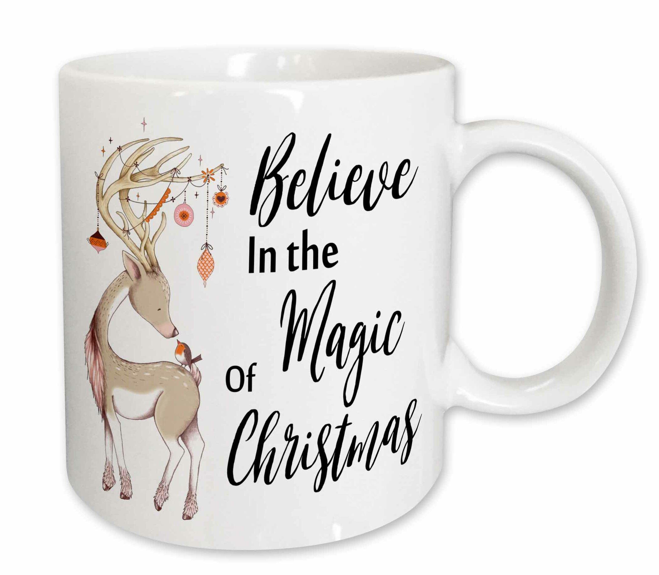 The Holiday Aisle Tang Believe In The Magic Of Christmas Deer Coffee Mug  9cbd5a34aa6