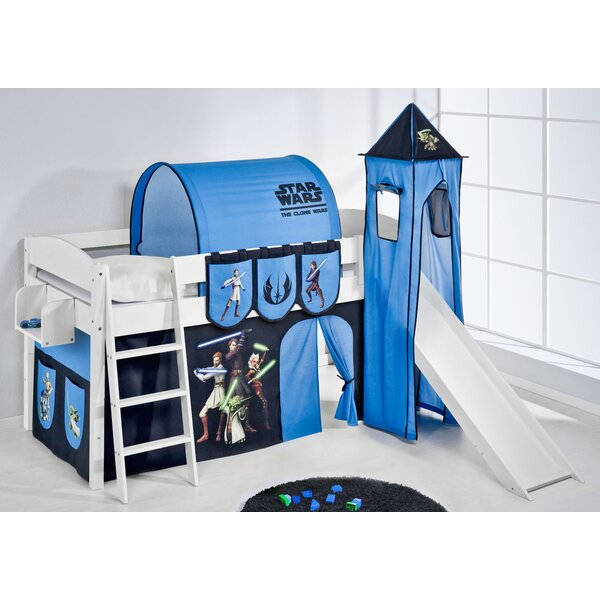 wrigglebox ida star wars the clone wars mid sleeper bunk bed with curtain tower and slide u0026 reviews wayfaircouk