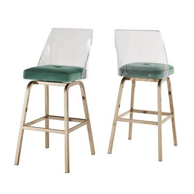 Everly Quinn Haskell 24 Swivel Bar Stool Upholstery: Green